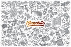 Scarabocchio disegnato a mano del cioccolato fissato con iscrizione Fotografia Stock