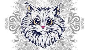 scarabocchio disegnato a mano del gatto del fumetto per la pagina adulta di coloritura fotografie stock