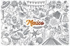 Scarabocchio disegnato a mano del Messico fissato con iscrizione Fotografie Stock