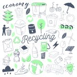 Scarabocchio disegnato a mano dell'energia alternativa di ecologia Eco a mano libera ricicla l'insieme di elementi Fotografia Stock