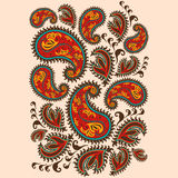 Scarabocchio disegnato a mano di Paisley e di Henna Mehndi Abstract Mandala Flowers Fotografia Stock