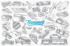 Scarabocchio disegnato a mano di trasporto fissato con iscrizione Fotografia Stock