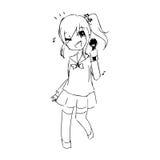 Scarabocchio disegnato a mano di vettore dell'illustrazione dell'adolescente che canta i wi Fotografia Stock