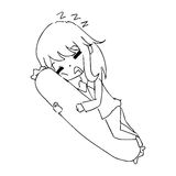 Scarabocchio disegnato a mano di vettore dell'illustrazione della ragazza addormentata con i bols Immagini Stock
