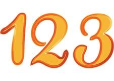 Scarabocchio scritto a mano numero 123 di tiraggio della mano dell'acquerello del tipo di carattere variopinto della spazzola Immagini Stock Libere da Diritti