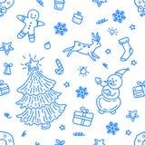 Scarabocchio senza cuciture delle icone dell'elemento di Natale del modello illustrazione di stock