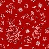 Scarabocchio senza cuciture delle icone dell'elemento di Natale del modello illustrazione vettoriale