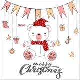 Scarabocchio sveglio dell'orsacchiotto isolato su fondo bianco per il vettore della carta di Buon Natale illustrazione di stock