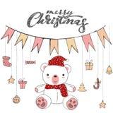 Scarabocchio sveglio dell'orsacchiotto isolato su fondo bianco per il vettore della carta di Buon Natale illustrazione vettoriale