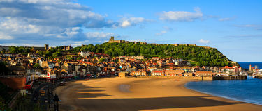 Scarborough beach, castle and harbour panoramic view Stock Images