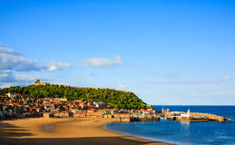 Scarborough beach, castle and harbour view Stock Image
