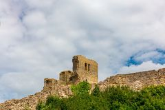 Scarborough Castle, a former medieval Royal fortress. royalty free stock photography