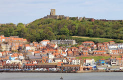Scarborough castle and harbor Royalty Free Stock Photography