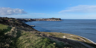 Scarborough Castle and south bay. Stock Photo