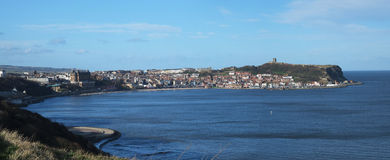 Scarborough castle and south bay. Royalty Free Stock Photos