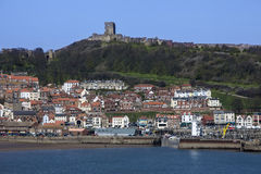 Scarborough Castle - Town and Harbor Stock Photos