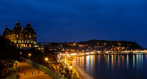 Scarborough Grand Hotel and harbour at night Stock Photography
