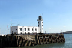 Scarborough harbor lighthouse Royalty Free Stock Photo