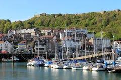Scarborough harbor and marina royalty free stock photography
