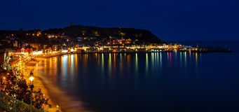 Scarborough harbour at night Royalty Free Stock Photo