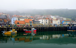 Scarborough harbour and town Stock Photos