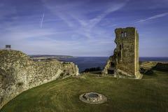 Scarborough medieval castle historic. Scraborough castle north east british coast Stock Photos