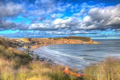 Scarborough North Yorkshire England uk seaside town in colourful hdr Royalty Free Stock Photography