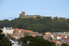 Scarborough roof tops and Castle Stock Photo