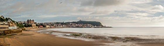 Scarborough south bay beach coast. Panoramic south bay beach coast town landscape Royalty Free Stock Image