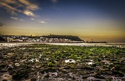 Scarborough south bay. Low tide south bay beach north east coast british Royalty Free Stock Photos