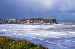 Scarborough South Bay Storm. Scarborough South Bay, in the storm called the Mini Beast from the East. All the roads round the sea front were closed due to high Stock Images