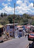 Scarborough village street, Tobago. Royalty Free Stock Image