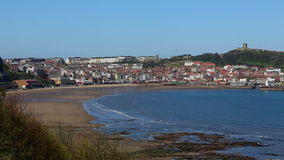 Scarborough - Yorkshire - England. The beach and coastline of Scarborough on the northeast coast of England stock video