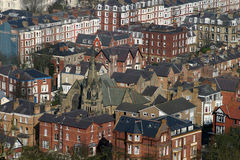 Scarbrough from Olivers Mount 2. Scarborough buildings from Olivers Mount stock photo