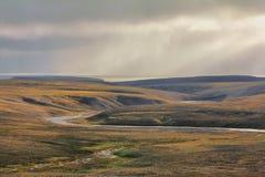 Scarce landscape of cold Arctic desert. Novaya Stock Photos