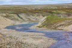 Scarce landscape of cold Arctic desert. Novaya Zemlya archipelago. Nuclear testing range 1 Stock Photography