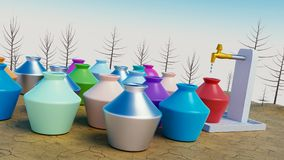 Scarcity of water concept 3d rendering. Scarcity or shortage of water concept, colorful pots waiting for water 3d rendering Stock Photos