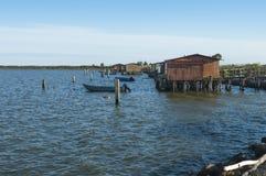 SCARDOVARI, WŁOCHY, 2016-08-06: Połów budy przy Scardovari laguną, Italy Obrazy Royalty Free