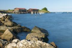 SCARDOVARI, WŁOCHY, 2016-08-06: Scardovari laguna w Po rive Zdjęcia Royalty Free