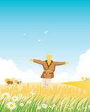 Scarecrow. Fencing in wheat field and the birds Stock Images