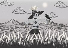 Scarecrow on the field black and grey vector illustration