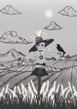 Scarecrow on the field black and grey portrait size royalty free illustration