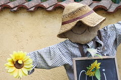 Scarecrow. A funny and smiling scarecrow at the entrance of a field royalty free stock photo