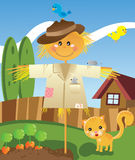 Scarecrow. Cute scarecrow with a cat, mouse and birds Royalty Free Stock Photos