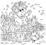 Scarecrow. Black-and-white illustration (coloring page): scarecrow standing in a field Stock Image