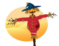 Scarecrow. Cartoons for background related to harvest, agriculture, autumn and thanksgiving themed Stock Photography