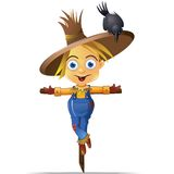Scarecrow. A Cute Scarecrow with a Black Crow Character Graphic Stock Image