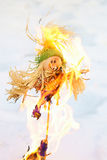 Scarecrow. Burning of a scarecrow of a pancake week. End of the winter. Shrovetide Stock Photo