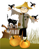 Scarecrow. Halloween scarecrow with black cat, pumpkins and ravens vector illustration