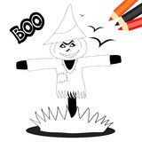 Scarecrow. Halloween coloring book page for kids: Black and white sketch with spooky scarecrow Stock Photography